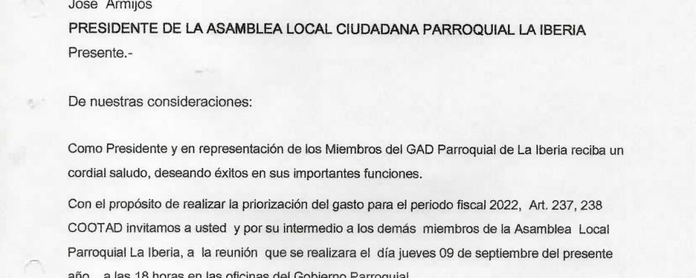 INVITACIÓN A LOS COMITÉS BARRIALES INTEGRANTE A LA REUNIÓN SOBRE PRIORIZACIÓN DEL GASTO PARA EL PERIODO 2022.